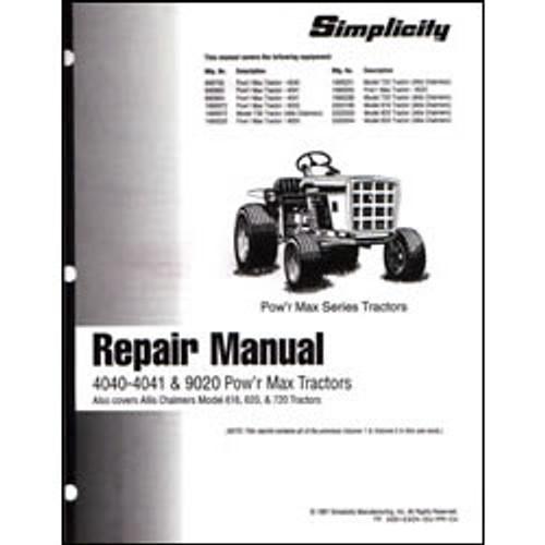 Simplicity 4040-4041 & 9020 Pow'r Max Tractor Repair Manual 500-0504