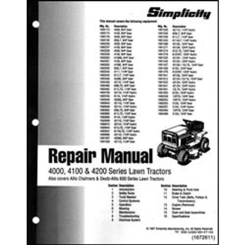 Simplicity 4000, 4100 & 4200 Series Lawn Tractor Repair Manual 500-1500