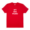 Chris & Cosey of Carter Tutti & Throbbing Gristle - 'Art Sex Music' t-shirt. White print on red.