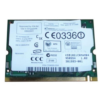381583-001 HP Mini PCI IEEE 11MBps 802.11b/g Wireless LAN (WLAN) Network Interface Card