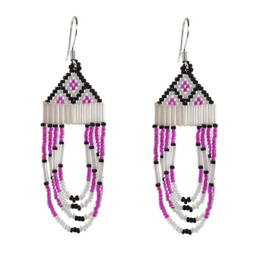 Beaded Brick Stitch Earrings with Drop Fringe by Faye Decontie (Penobscot).