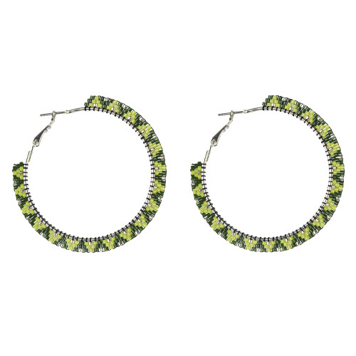 Beaded Snake Hoop Earrings by Jo-Ellen Loring Jamieson (Penobscot).