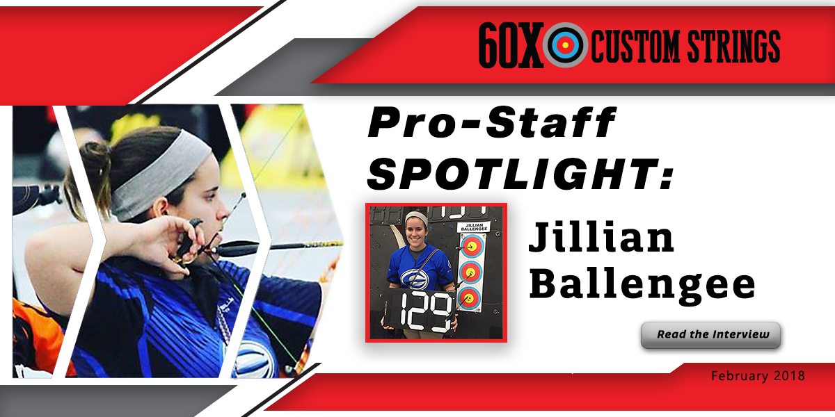 Banner that shows archery pro-staff member Jillian Ballengee shooting a bow with custom bowstrings. The image also show the pro-staffer standing by an archery target.