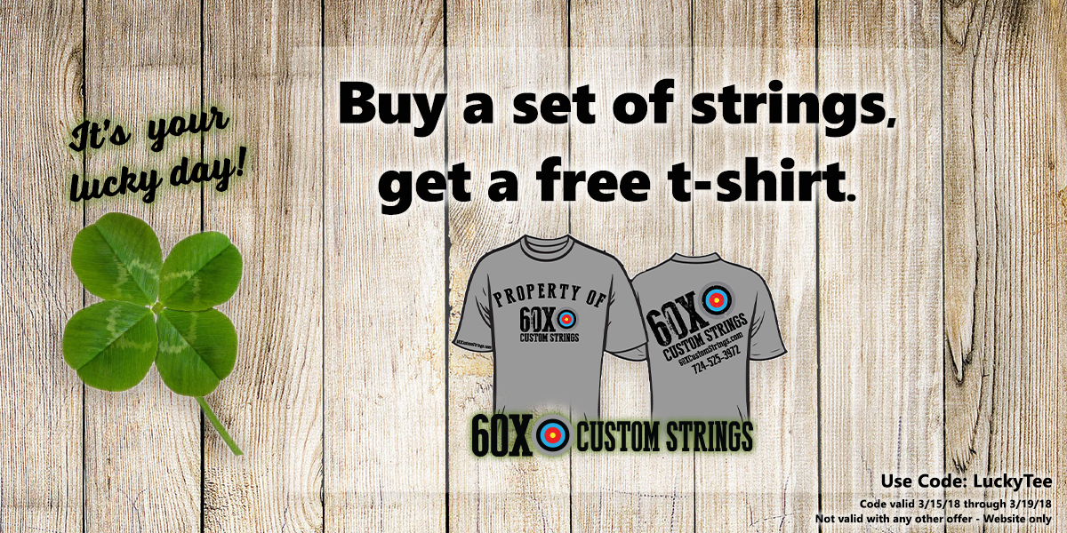 St. Patrick's Day ad. Buy a set of bowstrings, and get a free t-shirt.