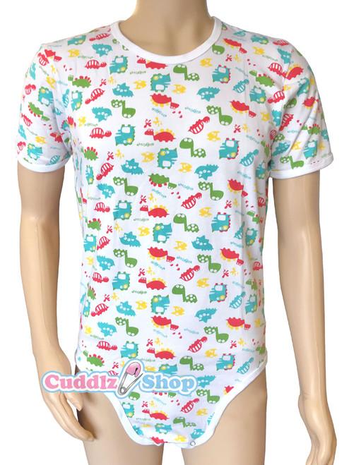 Cuddlz Colourful Dinosaur Pattern Cotton ABDL Body Suit / Adult Baby Onesie