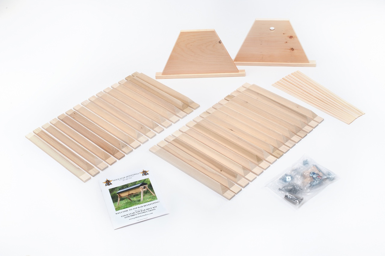The DIY#2 comes with all the top bars!  As well as the follower boards and spacers, and the plans and hardware to build your own Gold Star top bar hive!