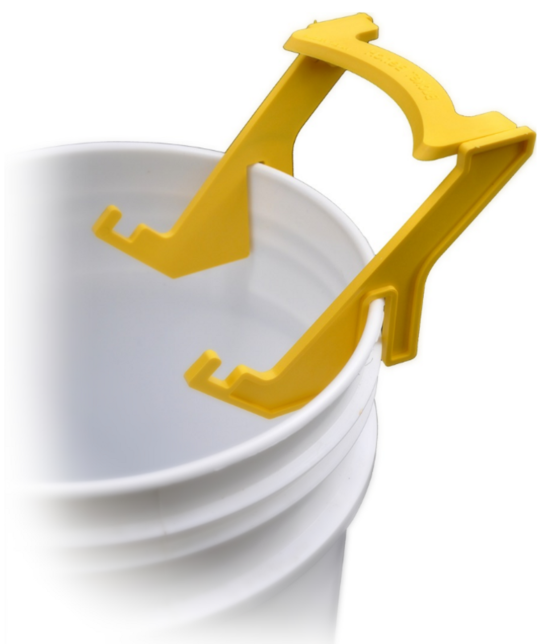Holds 2, 3.5, 5 and 6 gallon buckets.  Pops apart for cleaning and storage.