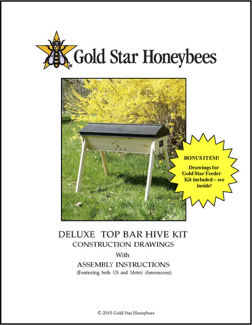 Simple and easy to understand, these detailed construction plans will help you build the Gold Star Deluxe top bar hive!  Metric and English units.