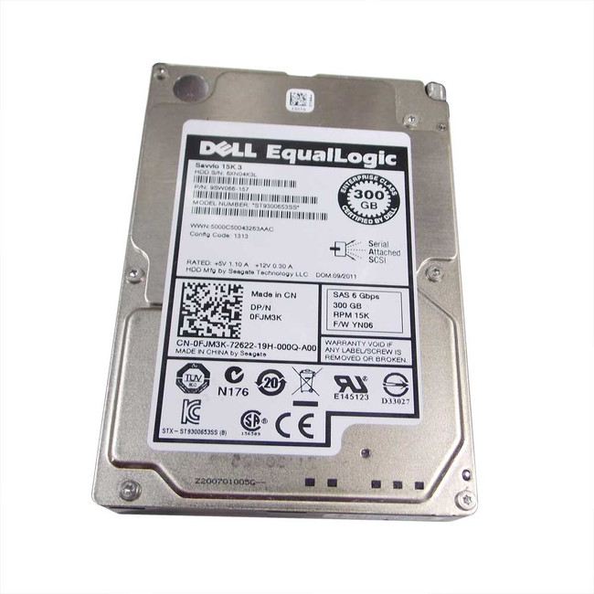 "Dell FJM3K Hard Drive 300gb 15K SAS 2.5"" Equallogic"