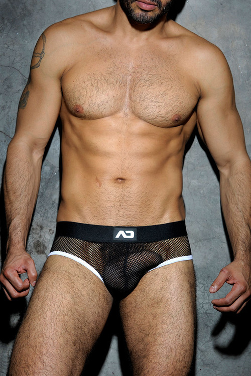 01 White - Addicted Fetish Mesh Brief ADF02 - Front View - Topdrawers Underwear for Men