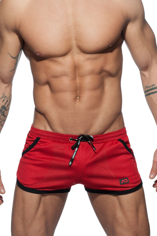 06 Red - Addicted Mesh Basic Rocky Short AD647 - Front View - Topdrawers Menswear