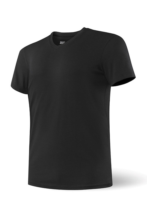 Black - Saxx Undercover S/S V-Neck SXTV19 - Front View - Topdrawers Underwear for Men