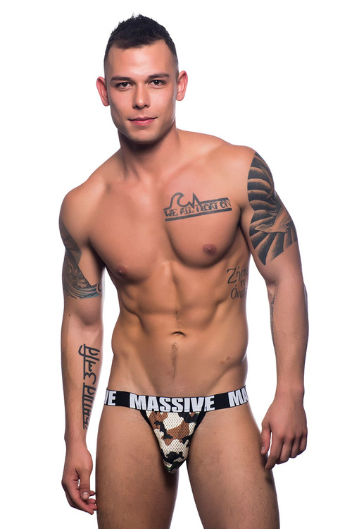 Andrew Christian Massive Camouflage Mesh Jock 90756 - Front View - Topdrawers Underwear for Men
