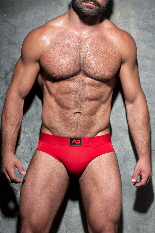 06 Red - Addicted Fetish Bottomless Fetish Brief ADF92 - Front View - Topdrawers Underwear for Men