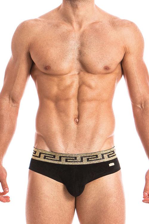 Black - Modus Vivendi Greek Lux Brief 13813 - Front View - Topdrawers Underwear for Men