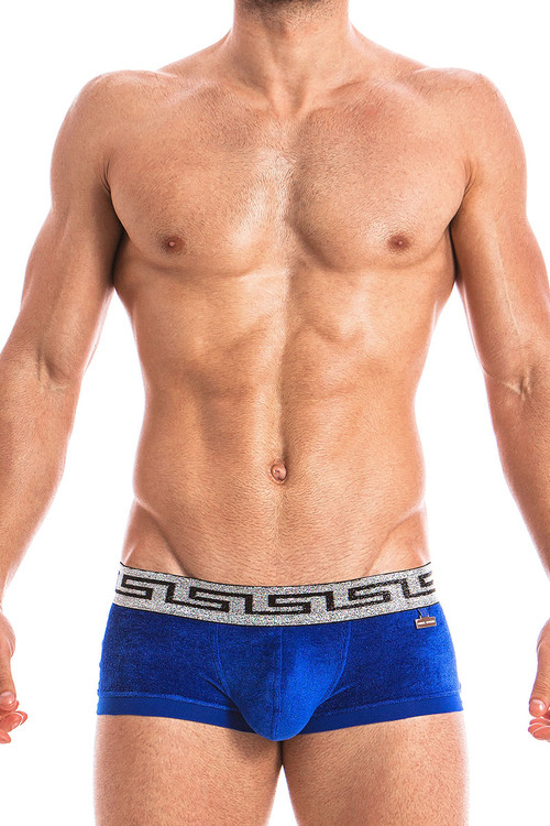 Blue - Modus Vivendi Greek Lux Boxer 13821 - Front View - Topdrawers Underwear for Men