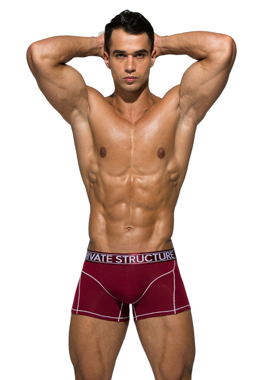 Cranberry Red - Private Structure Platinum Bamboo Trunk PBUZ3749 - Front View - Topdrawers Underwear for Men