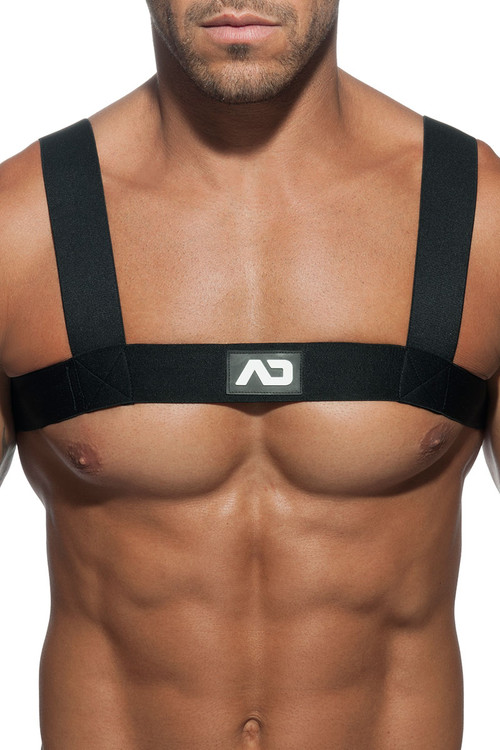 10 Black - Addicted Basic Elastic Harness ADF104 - Front View - Topdrawers Underwear for Men
