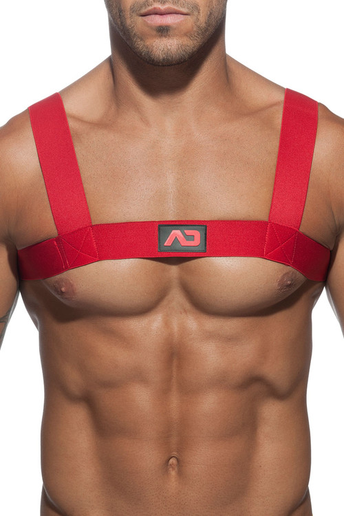 06 Red - Addicted Basic Elastic Harness ADF104 - Front View - Topdrawers Underwear for Men