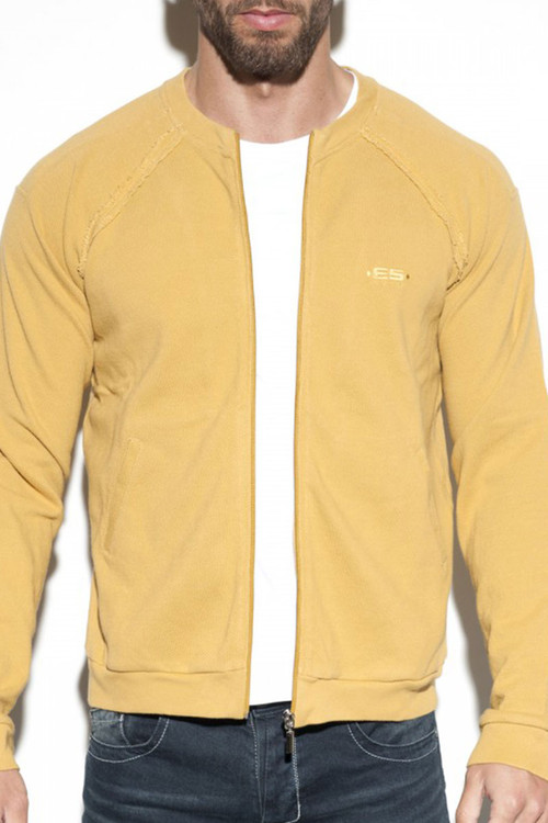 20 Gold - ES Collection Cotton Knit Jacket JCK07 - Front View -  Topdrawers Menswear
