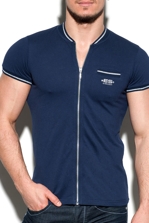 09 Navy - ES Collection Zipper Mao Polo POLO27 - Front View -  Topdrawers Menswear