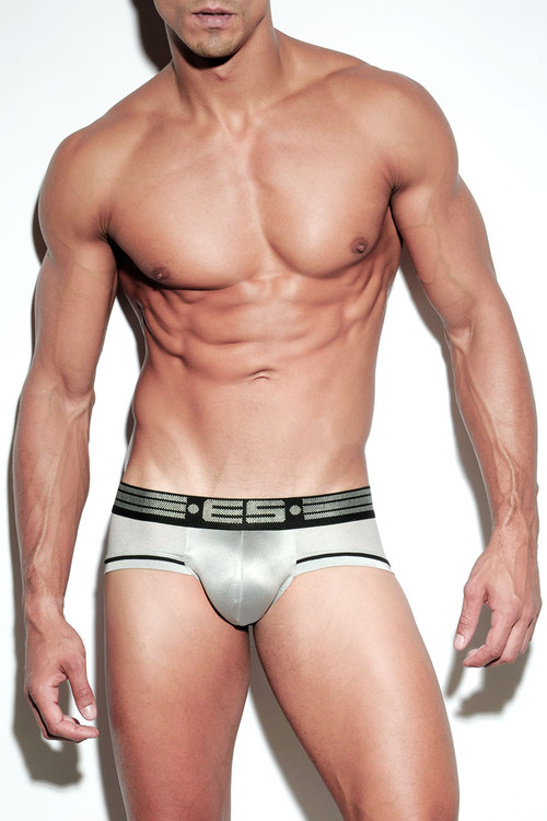 21 Silver - ES Collection Metallic Brief UN206 - Front View - Topdrawers Underwear for Men