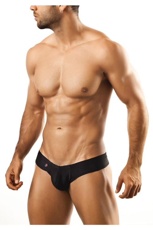 Black - Joe Snyder Mini Cheek Thong JS22 - Front View - Topdrawers Underwear for Men