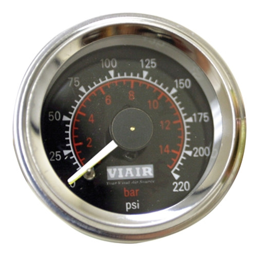 Viair Black Faced, 220 PSI Dual Needle Air Gauge