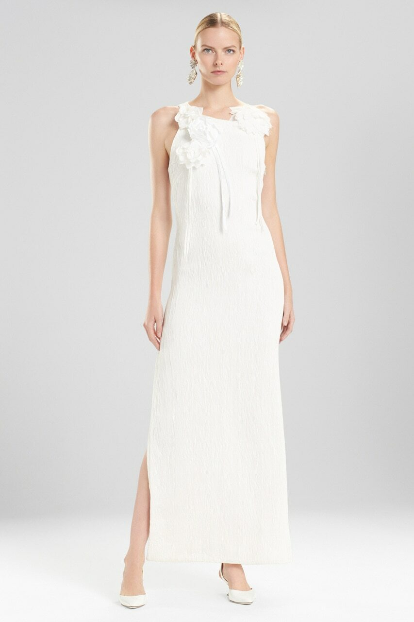 Josie Natori Plisse Gown With Corsage - The Natori Company