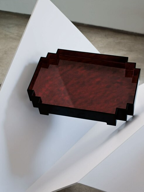 Buy Lacquer Curved Tray with Tapered Edges from