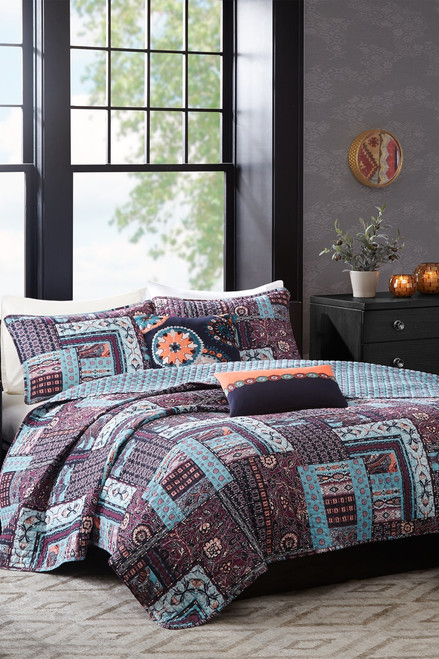 Josie Woodblock Patchwork Reversible Quilt 5 Pc Set at The Natori Company
