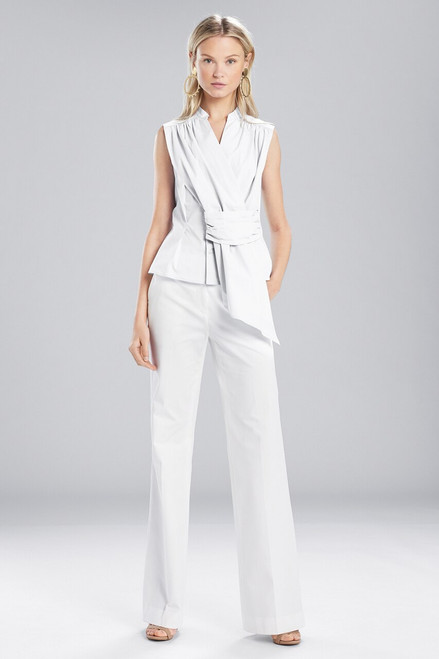 Josie Natori Cotton Shirting Sleeveless Top at The Natori Company