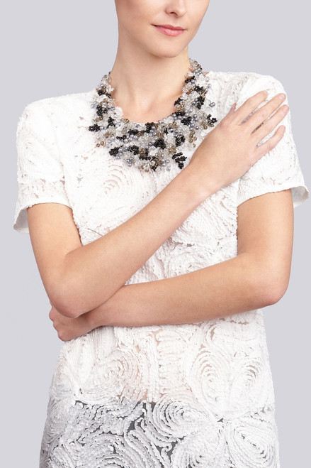 Josie Natori Beaded Bib Necklace - Black at The Natori Company