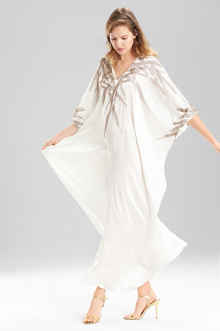 Josie Natori Couture Beaded Ikat Caftan at The Natori Company