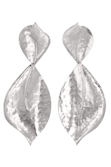 Buy Hammered Metal Two Leaf Earrings from