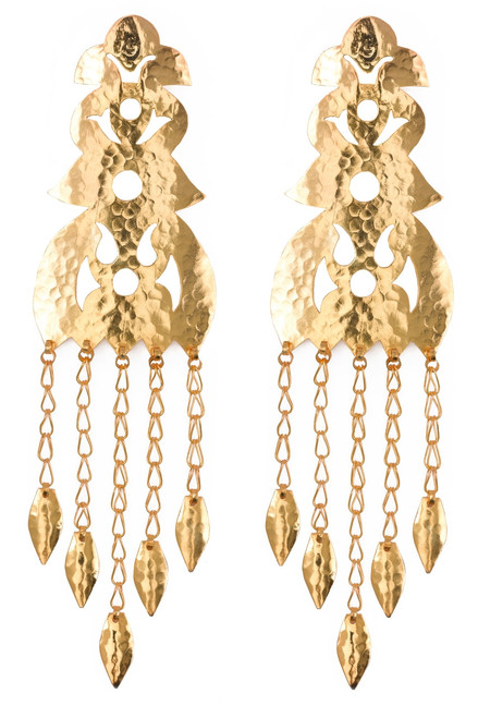 Buy Hammered Gold Long Earrings from