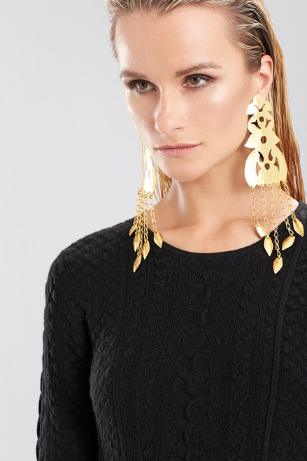 Hammered Gold Long Earrings at The Natori Company