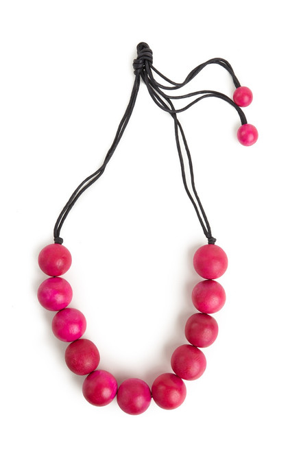 Buy Josie Natori Large Wood Bead Necklace - Rose Pink from