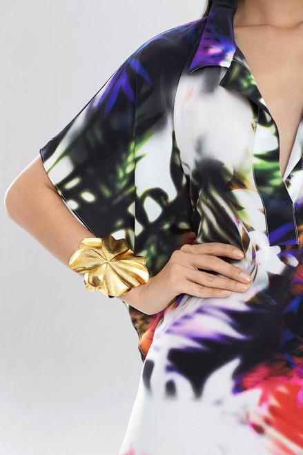 Josie Natori Metal Floral Cuff at The Natori Company