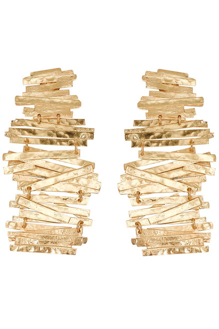 Hammered Metal Stacked Earrings at The Natori Company