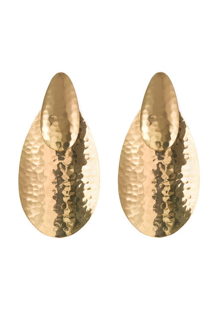 Hammered Gold Oval Earrings at The Natori Company