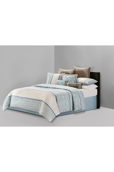 Buy N Natori Fretwork Aqua Comforter Set from