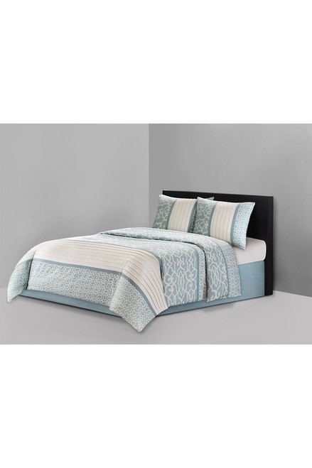 N Natori Fretwork Aqua Comforter Set at The Natori Company