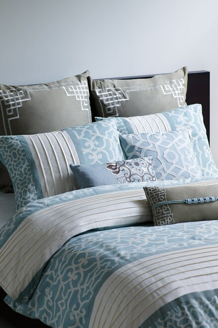 N Natori Fretwork Aqua Short Oblong Pillow at The Natori Company
