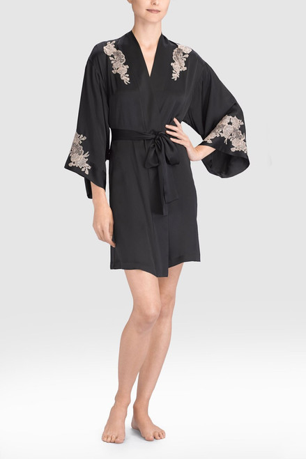 Josie Natori Lolita Two-Tone Wrap with Lace at The Natori Company