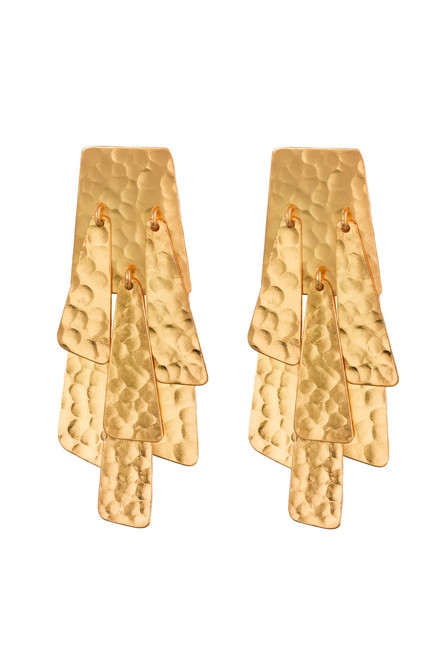 Hammered Gold Waterfall Earrings at The Natori Company