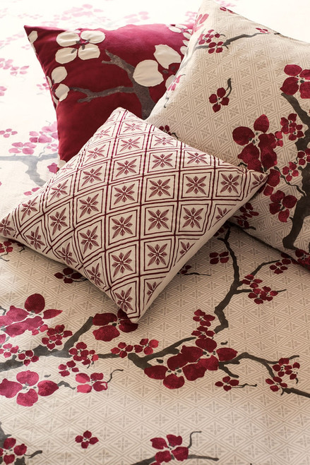 N Natori Cherry Blossom Geometric Square Pillow at The Natori Company