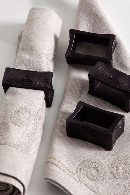 Buy Wood Grain Napkin Ring Set from