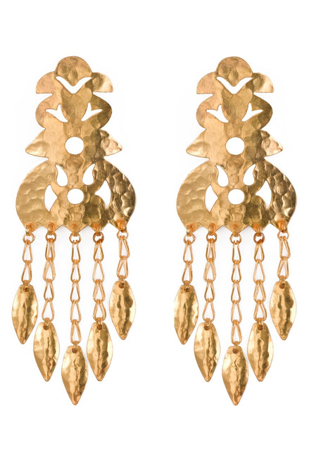 Hammered Gold Crown Earrings at The Natori Company