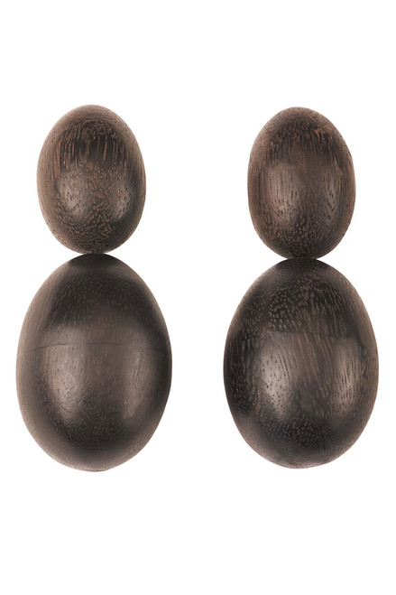 Acacia Wood Double Teardrop Earrings at The Natori Company